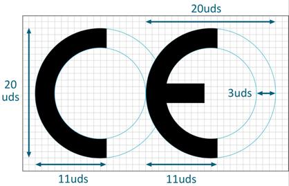 Logotipo Marcado CE - dimensiones y composicion